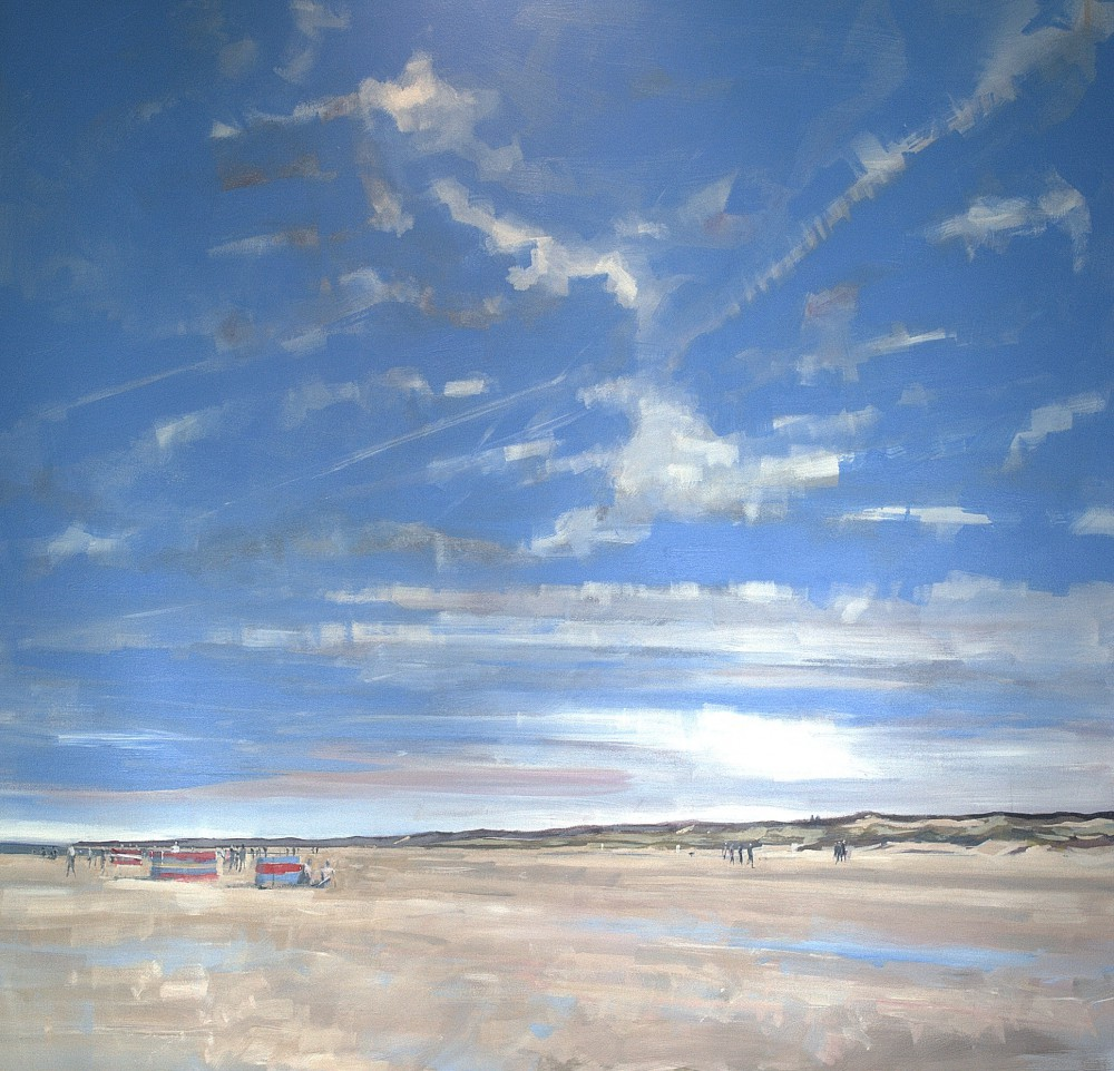 This is a painting, completed last summer, of people on the beach at Winterton-On-Sea.